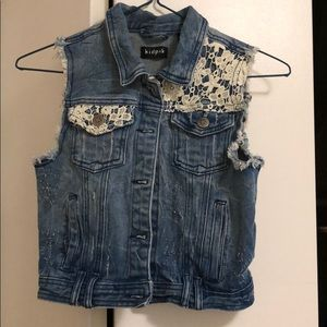 Distressed Denim and Lace Vest, size 7-8